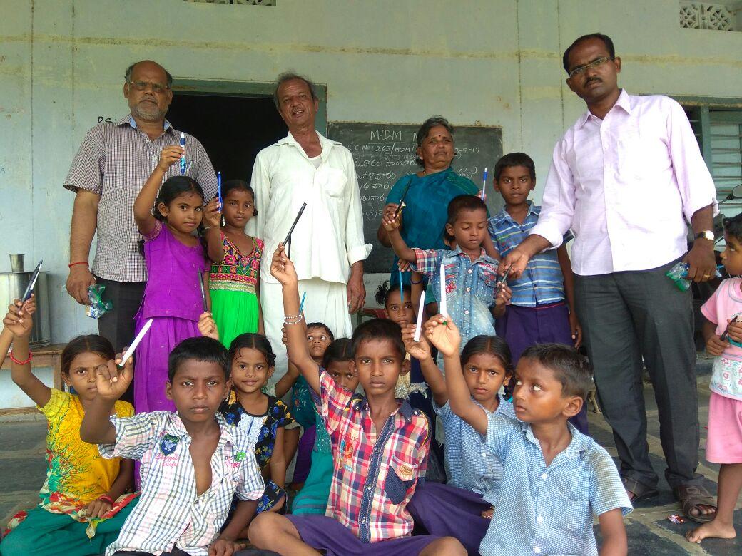 School Supplies to MPPS Kothaluru, Guntur Dist, AP